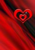 Röd hjärta som två trängas igenom av en pil på krabb svart röd bakgrund Royaltyfri Fotografi
