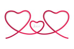 Röd hjärta tre för band som isoleras på vit bakgrund, vektor Arkivbild