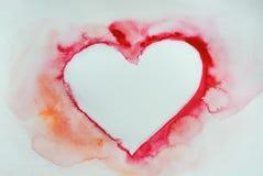 Röd hjärta, vattenfärgillustratör Arkivfoton
