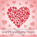 Röd hjärtabakgrund för valentin dag Arkivfoto