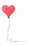 Röd hjärtaballong på vit Fotografering för Bildbyråer