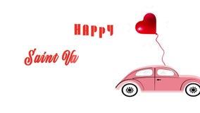 Röd hjärtaballong som fästas till en rosa gammal utformad bil stock video