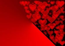 Röd hjärtabokeheffekt för valentindag Royaltyfri Foto