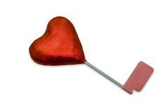 Röd hjärtachoklad med vit bakgrund Royaltyfri Bild