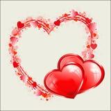 Röd hjärtadesign som ram vektor illustrationer