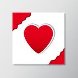 Röd hjärtaklistermärke på vitbokbakgrund, illustration Arkivfoton