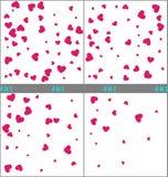 Röd hjärtakonfettiberöm enkel design Ställ in av hjärtakonfettibakgrunder klar vektor för nedladdningillustrationbild 1 4 kugghju royaltyfri illustrationer