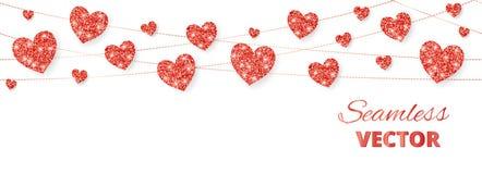 Röd hjärtaram, sömlös gräns Vektorn blänker isolerat på vit För garnering av valentin- och moderdagkort royaltyfri illustrationer