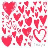 Röd hjärtasamling för vattenfärg Royaltyfria Bilder