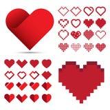 Röd hjärtasymbolsuppsättning Royaltyfria Bilder