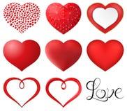 Röd hjärtauppsättning Royaltyfri Foto