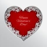Röd hjärtavektorillustration som snöras åt med hjärtor, kanter och ramen för pil för kupidon` s på vit bakgrund för kort för vale royaltyfri illustrationer