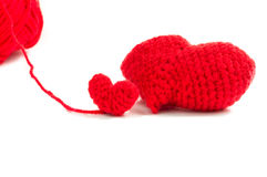 Röd hjärtavirkning på vit bakgrund Royaltyfri Bild