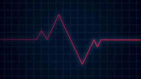 Röd hjärtslagpuls på kardiogramskärmen, cardio sjukvårdbegrepp för EKG ECG arkivfoto