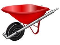 Röd hjulbarrow Arkivbild