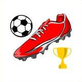 Röd illustration för sko-, boll- och troféfotbollvektor på wthitebakgrund vektor illustrationer
