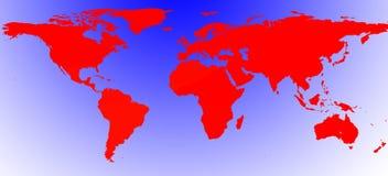 Röd illustrerad världsöversikt Royaltyfria Foton