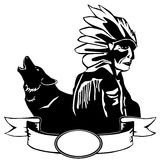 Röd indier och wolf Arkivfoton