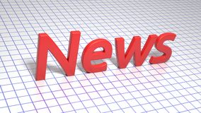 Röd inskrift på fyrkant fodrat papper nyheterna Grafisk illustration framförande 3d Bakgrund Arkivfoton