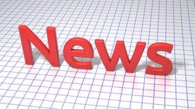 Röd inskrift på fyrkant fodrat papper nyheterna Grafisk illustration framförande 3d Bakgrund Arkivbilder