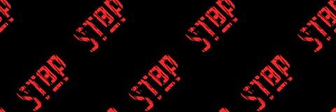 Röd inskrift sömlös modell 'för stopp '- royaltyfri illustrationer