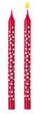 Röd isolerad stearinljusprickuppsättning Royaltyfria Foton