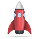 Röd isolerad vektor för anseende raket Royaltyfri Foto
