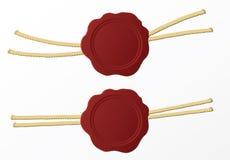 Röd isolerade vaxskyddsremsa eller stämpel Fotografering för Bildbyråer