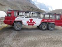 Röd isutforskare Bus på den Athabasca glaciären arkivbild
