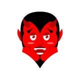 Röd jäkel rolig demon Satan med horn Sluga Mephistopheles royaltyfri illustrationer