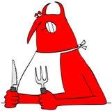 Röd jäkel som rymmer en kniv och en gaffel Arkivbild