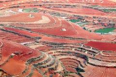 Röd jord i Dong Chuan, Kina Arkivbilder