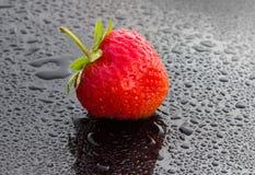 Röd jordgubbe på en mörk bakgrund Royaltyfria Bilder