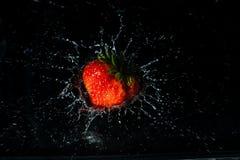 Röd jordgubbe som plaskar in i vatten Royaltyfria Foton