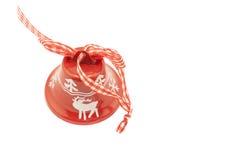 Röd jul Klocka på vit bakgrund royaltyfri bild