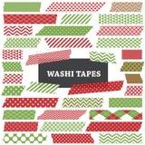 Röd jul och det gröna Washi bandet river av gemkonst Arkivfoto