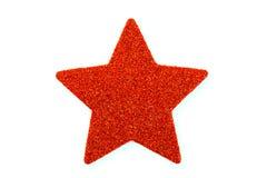Röd jul stjärna, julprydnad som isoleras på vit Royaltyfri Foto