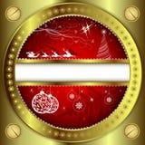 Röd julbakgrund med den guld- ramen stock illustrationer