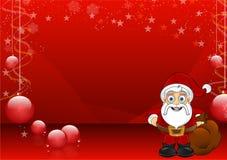 Röd julbakgrund med Santa - 1 Arkivbild
