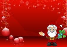 Röd julbakgrund med Santa - 2 Royaltyfria Foton