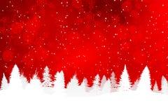 Röd julbakgrund med snöig kullar Vektor Illustrationer