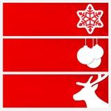 Röd julbaneruppsättning Baner med bilder av snöflingor, Ch Royaltyfria Foton