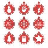 Röd julbolluppsättning Royaltyfria Bilder