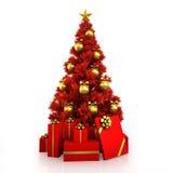 Röd julgran med den guld- dekoren på vit bakgrund Royaltyfria Foton