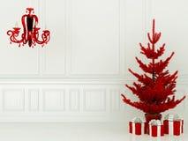 Röd julgran och lampa royaltyfri bild