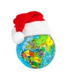Röd julhatt för jordklot och Santa Claus Royaltyfri Bild