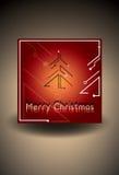 Röd julkort med det futuristiska julträdet också vektor för coreldrawillustration royaltyfria foton
