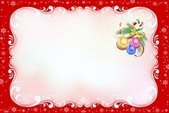 Röd julkort med virvelramen. Royaltyfri Bild