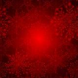 Röd julsnöflingabakgrund Royaltyfri Foto