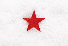 Röd julstjärna på snow Arkivbilder